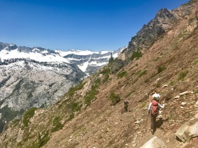 Hiking the switchbacks up to the top of the Sawtooth Ridge (pictured: carbon fiber trekking poles