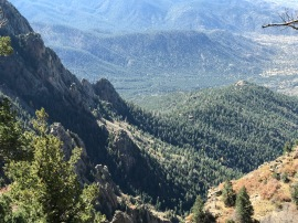View of the tram climbing up to the top of Sandia peak