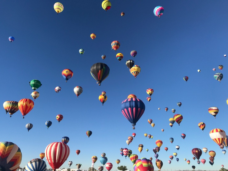 Balloons rising during the Mass Ascension at the Albuquerque International Balloon Fiesta