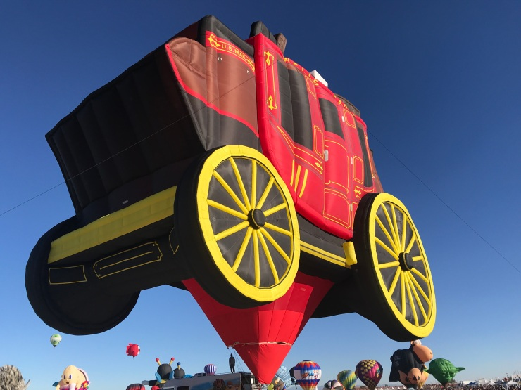 The Wells Fargo balloon was blown up but did not fly