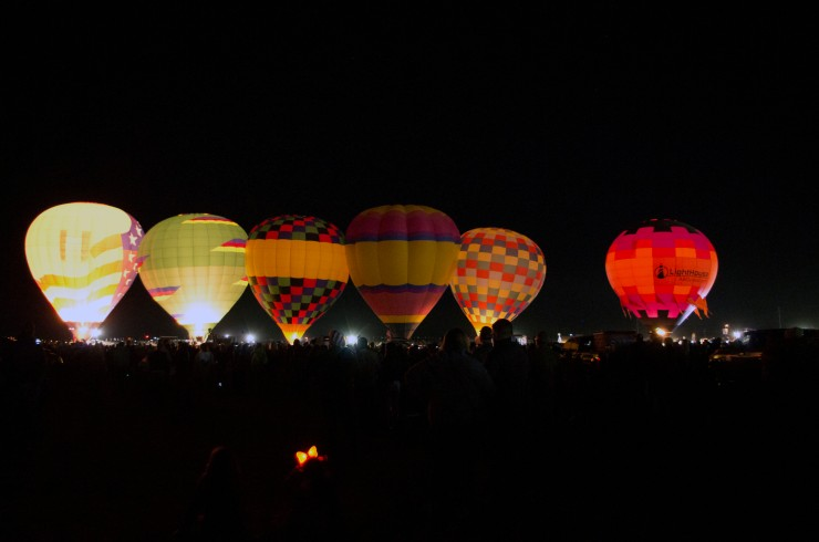Balloons as they prepare to take off at the start of the Dawn Patrol