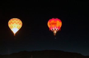 The first batch of Dawn Patrol balloons in the air