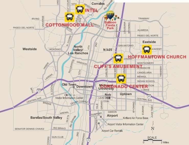 Locations of the Park & Ride lots for the 2017 Fiesta (from balloonfiesta.com)