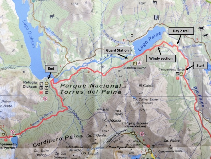 Map of the trail we took on Day 2 of the Circuit trek in Torres del Paine National Park.
