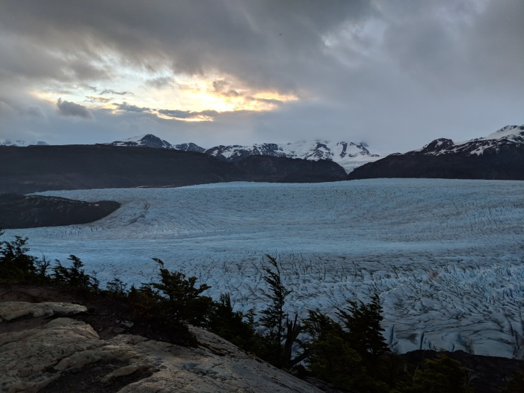 View of Glacier Grey at Sunset from the viewpoint by Campamento Paso.