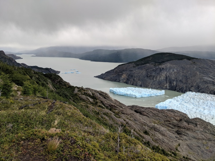 The iceberg off Glacier Grey and a view of the large Lago Grey