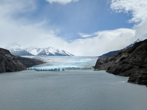 Eventually the sun came out and the sky turned blue. A view of Glacier Grey from the trail.