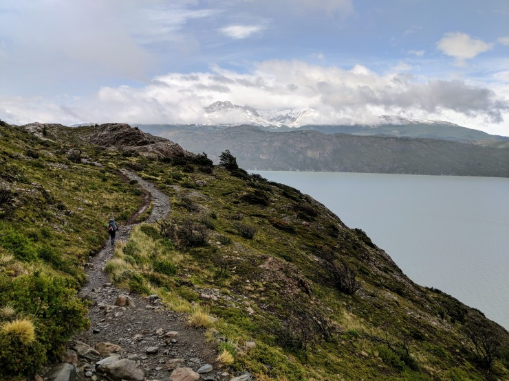 The trail skirts on the top of a drop-off that leads to the Lago Grey shore.