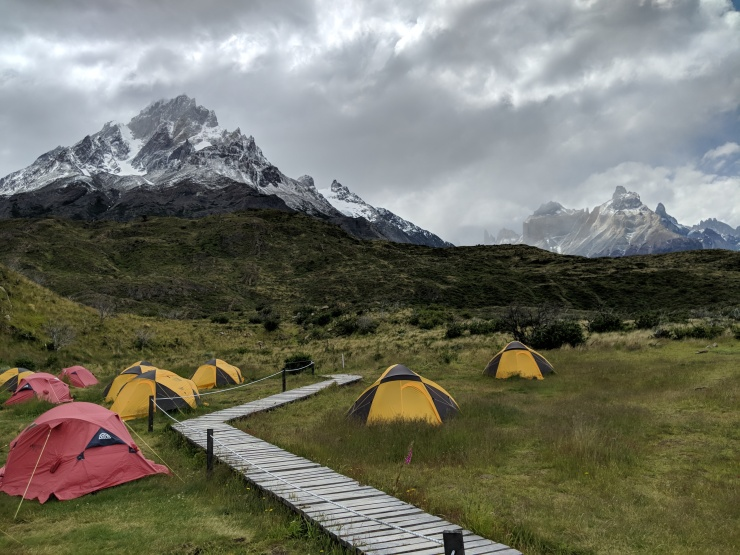 The campsite at Paine Grande has a great view, but is very windy