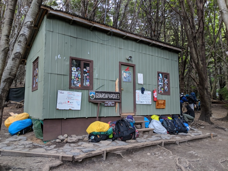 Many people leave their heavy packs at the Campamento Italiano Ranger Station.