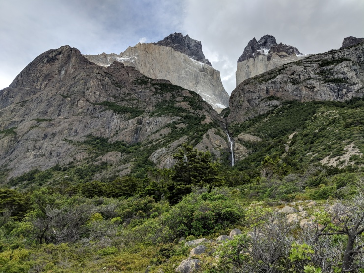 After the trail starts to move inland, you get great views of the mountains near Refugio Los Cuernos