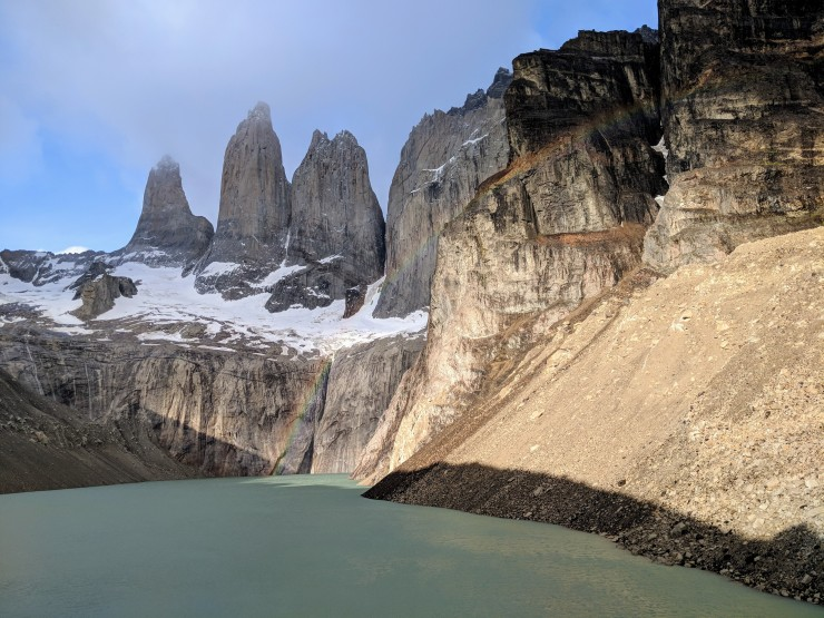 The view at the Mirador de las Torres in Torres del Paine National Park. We were able to capture a rainbow crossing in front of the towers.