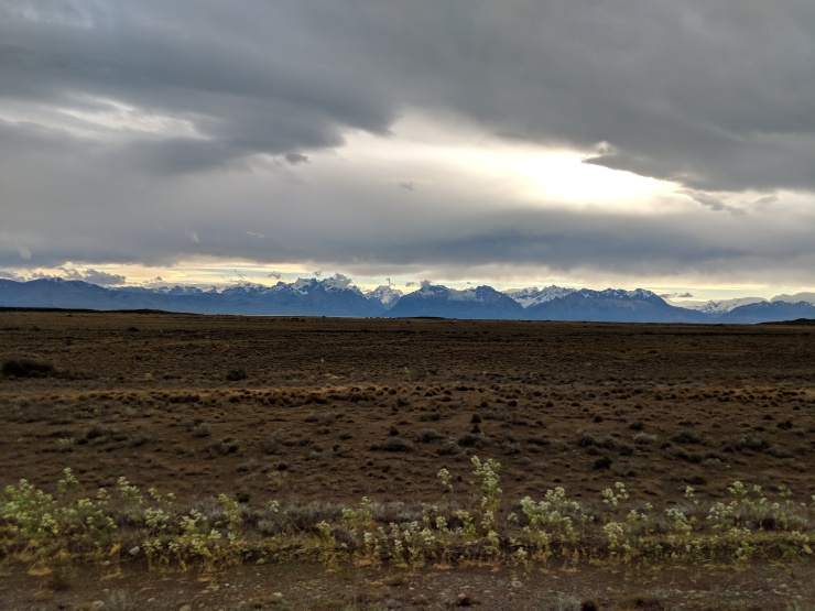 The ride from El Calafate to El Chalten has views of the Patagonia Steppe and the mountains in Los Glaciares National Park.