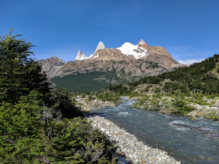 The trail begins by following the Rio Bianco South towards Fitz Roy