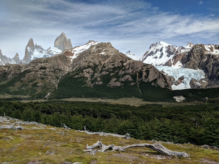 As the trail continues South, you get great views of Mount Fitz Roy and the Piedras Blancas Glacier