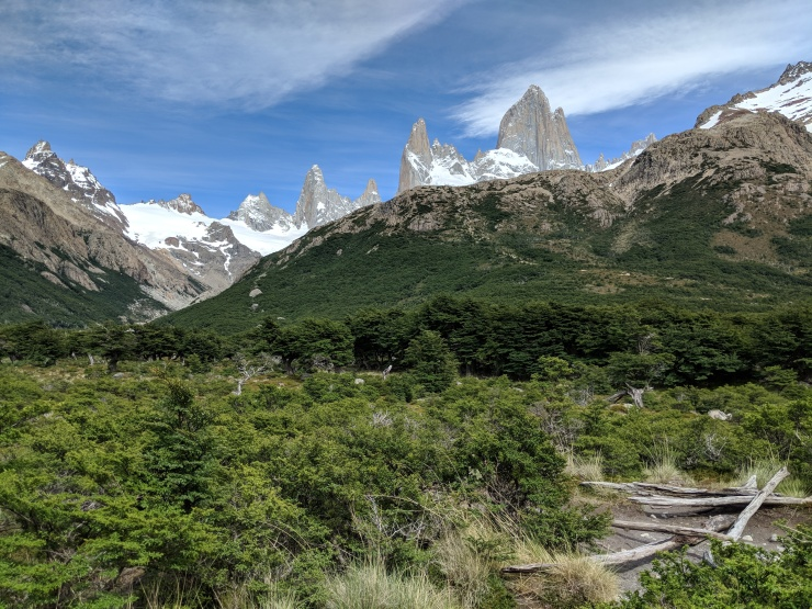 You head West from the camp and are treated to a view of Fitz Roy and a view of the climb (up over the hill in front of Fitz Roy) that you will soon embark on