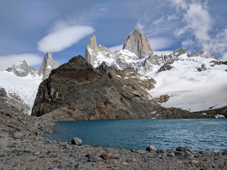 When you get over the hill, you catch your first glimpse of the gorgeous Laguna de Los Tres with Mount Fitz Roy behind it.