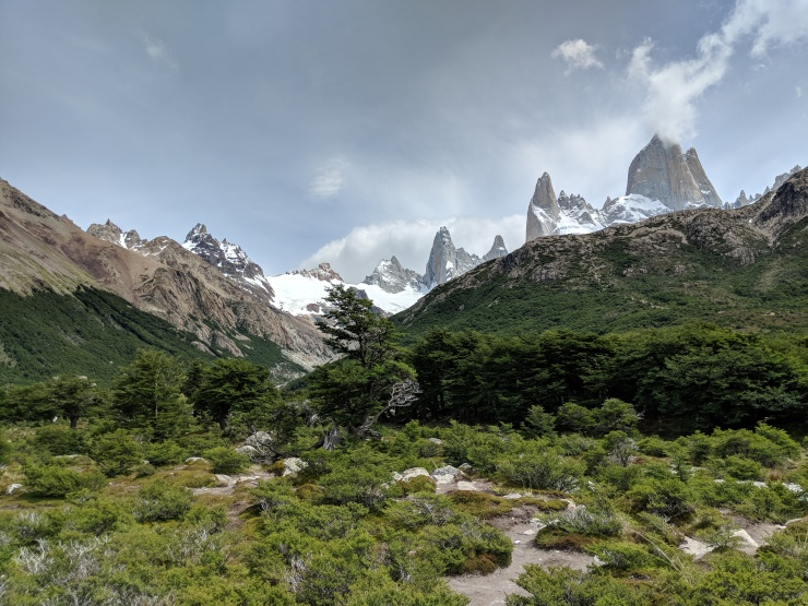 After a slow, steep descent (because we had to let many people hiking up the trail pass on the narrow trail), the trail finally levels out and you get great views of Fitz Roy when you turn around.