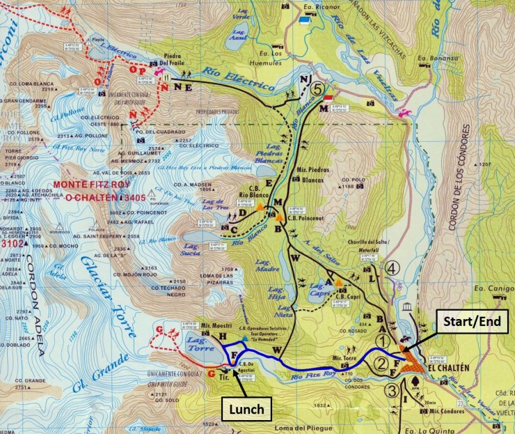 Map of the route along the Laguna Torre trail in Los Glaciares National Park that leads to Laguna Torre and a great viewpoint of Cerro Torre.
