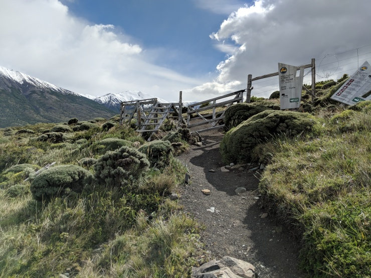 Eventually you cross a boundary in the park. At this point you are crossing from the Seron section to the Coiron section of Torres del Paine.