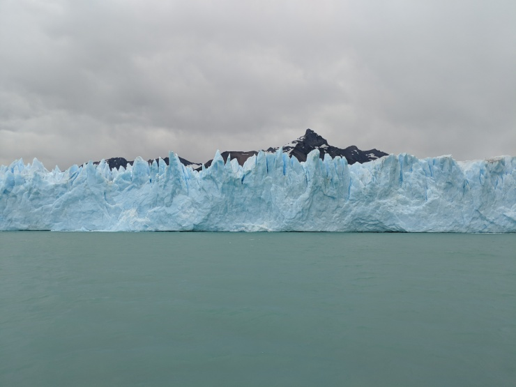 A close up view of some of the jagged ice on the face of the Perito Moreno Glacier