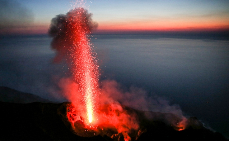 Eruption on the top of Stromboli.