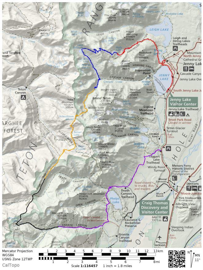 Teton Crest Trail – Grand Teton National Park (48 mile loop ...