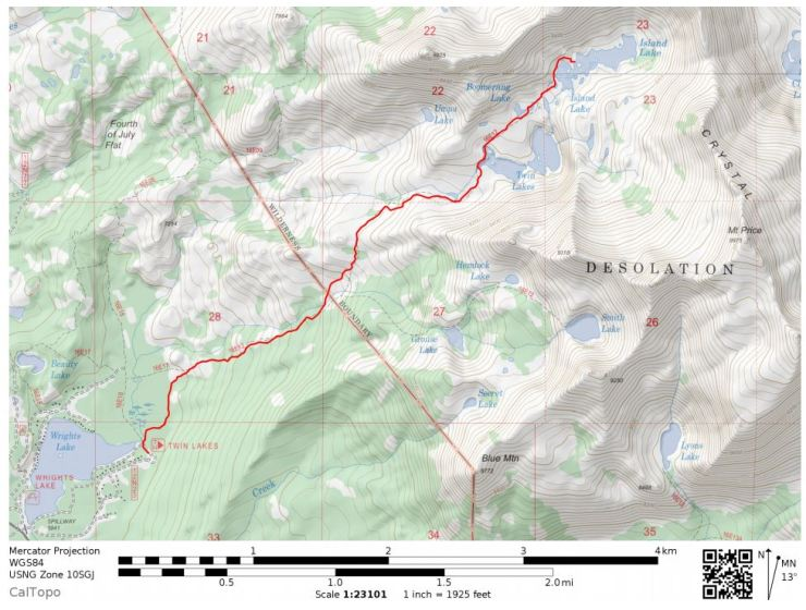 Desolation-wilderness-twin-lakes-map-day-1