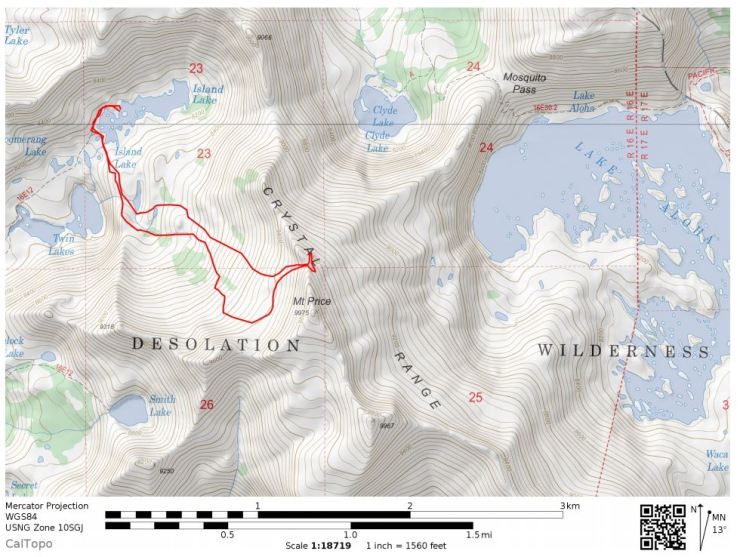Desolation-wilderness-twin-lakes-map-day-2