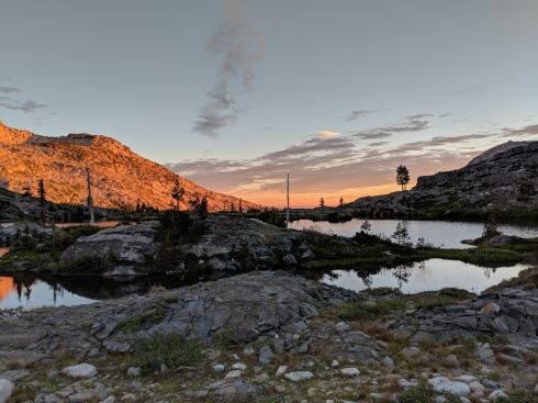 The view looking back towards Twin Lakes at sunset.