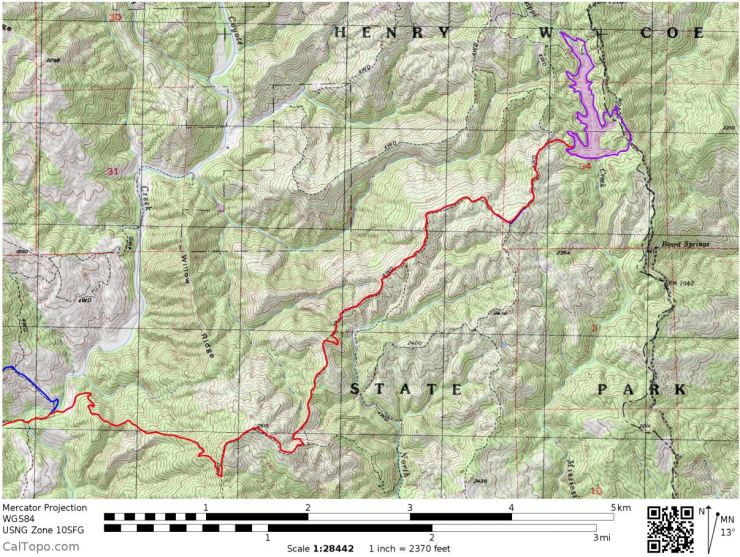 Henry-coe-mississippi-lake-east-hike-map