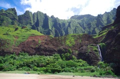 View of the backdrop and waterfall at Kalalau Beach