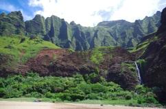 View of the backdrop and waterfall at Kalalau Beach