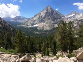 View of the East Vidette mountain from the John Muir Trail.