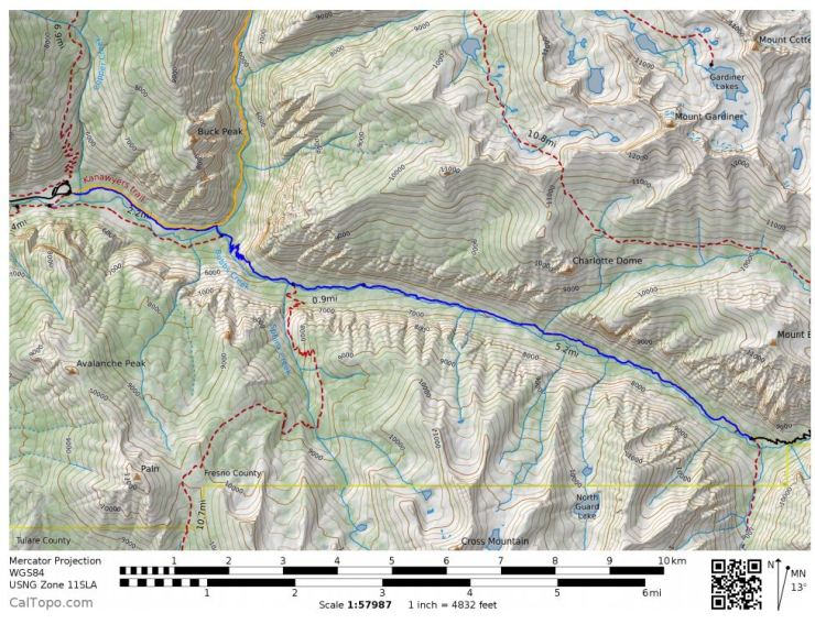 Map of the Rae Lakes Loop Day 1 hike (blue)