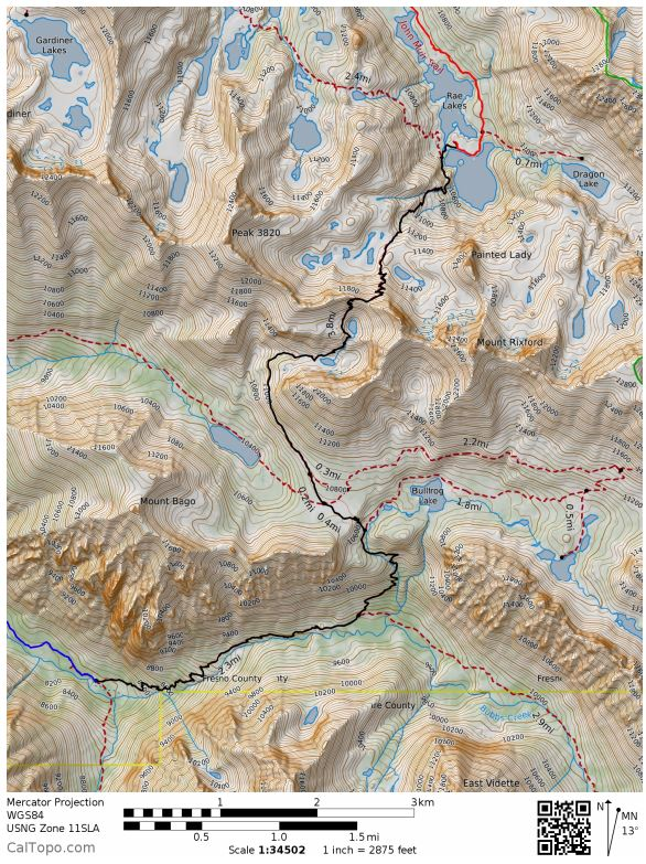 kings-canyon-rae-lakes-loop-Day-2-map