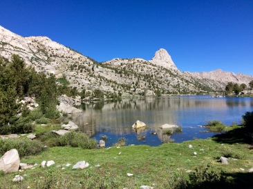 The trail then goes along the east edge of the second Rae Lake. You get nice views of the Fin Dome along the way.
