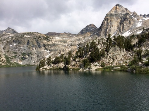 View of the Painted Lady from the shore of one of the Rae Lakes.