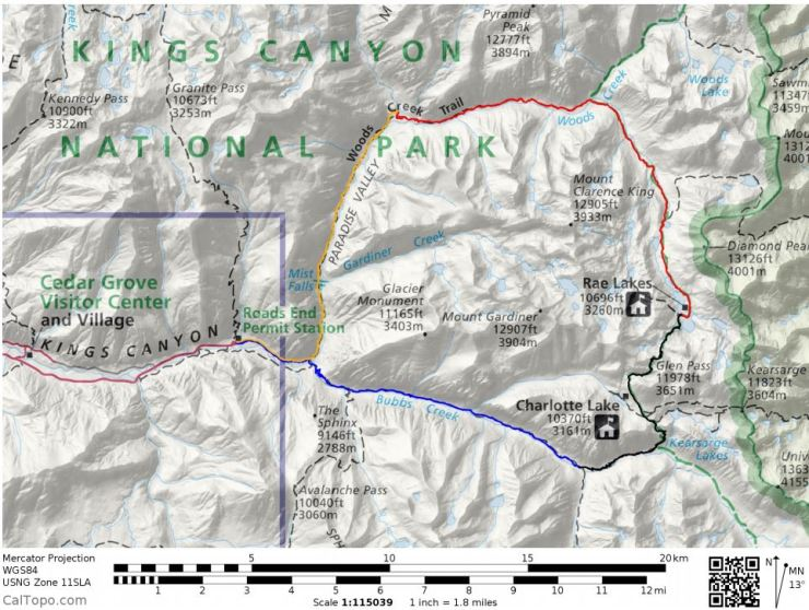 Overall map of the Rae Lakes Loop with the starting point at Roads End. Day 1 (blue), Day 2 (black), Day 3 (red) and Day 4 (yellow).