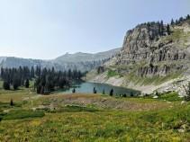 Looking back at Marion Lake during the climb.