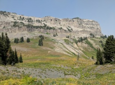 View along the Teton Crest Trail looking up at Fox Creek Pass and the start of the Death Canyon Shelf