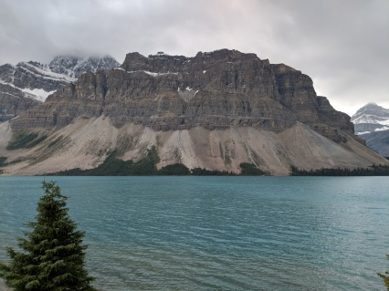 View of Bow Lake and the Crowfoot Mountain backdrop as seen from a turn on the Icefields Parkway.