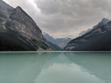 View from the shore of Lake Louise looking towards the Plain of Six Glaciers.