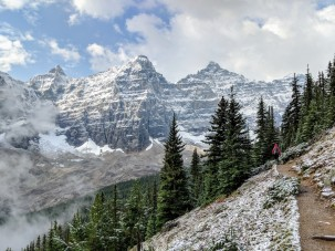 Along the Eiffel Lake Trail you get some really great views of the Ten Peaks that make up the backdrop for Moraine Lake.