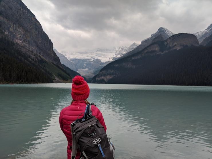 Hiker-at-lake-louise-banff