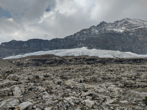 Picture of the Emerald Glacier and the rock steps below it.