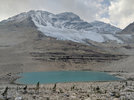 Glacial lake along the Iceline Trail. This lake sits in front of the Secretary-Treasurer sub peak.