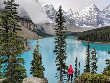 Taking in one of many beautiful views at Moraine Lake in Banff National Park (from atop of the rock pile near the lake outlet stream)