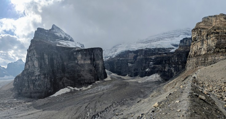 To reach the end of the Plain of Six Glaciers Trail, you follow the trail along a skinny moraine (right side of image)