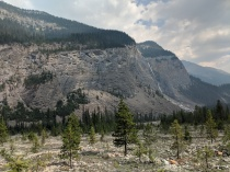 View of Takakkaw Falls from the Yoho River Trail.